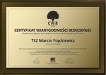 Certyfikat Wiarygodności Biznesowej D&B dla TS2